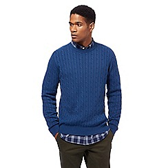Racing Green - Bright blue cable knit crew neck jumper