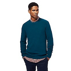 Racing Green - Turquoise ribbed knit crew neck jumper