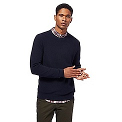 Racing Green - Navy ribbed knit crew neck jumper