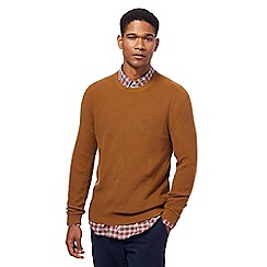 Racing Green - Tan ribbed knit crew neck jumper