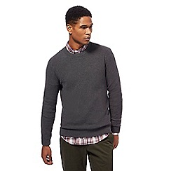 Racing Green - Big and tall grey ribbed knit crew neck jumper