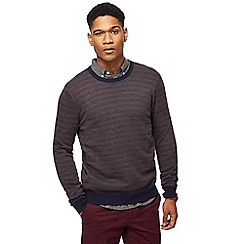 Racing Green - Navy pattern crew neck jumper