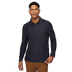 Racing Green - Navy twill long sleeve polo shirt