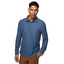 Racing Green - Mid blue twill long sleeve polo shirt