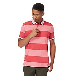 Racing Green - Big and tall dark pink block striped supima polo shirt