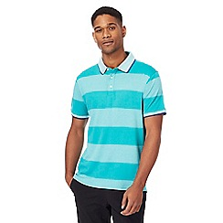 Racing Green - Green block striped polo shirt