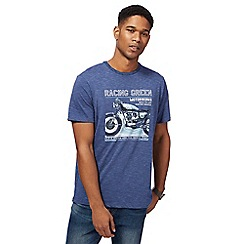 Racing Green - Big and tall blue 'motor works' print t-shirt