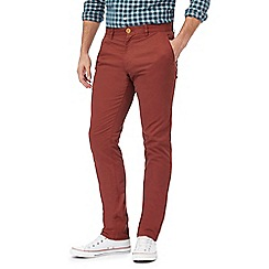 Racing Green - Big and tall red brick chino trousers