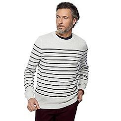 Racing Green - Big and tall grey striped jumper