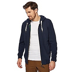 Racing Green - Big and tall navy zip through hoodie