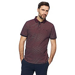 Racing Green - Big and tall dark red printed polo shirt