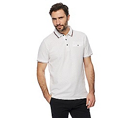 Racing Green - Big and tall white printed polo shirt