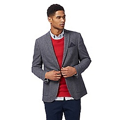 Racing Green - Big and tall grey textured blazer with wool