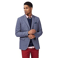 Racing Green - Big and tall blue textured wool blend blazer