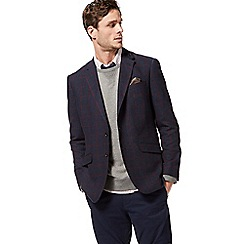 Racing Green - Big and tall navy checked blazer with wool