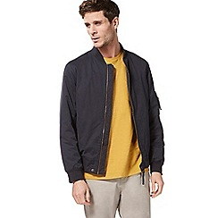 Racing Green - Big and tall navy zip through bomber jacket