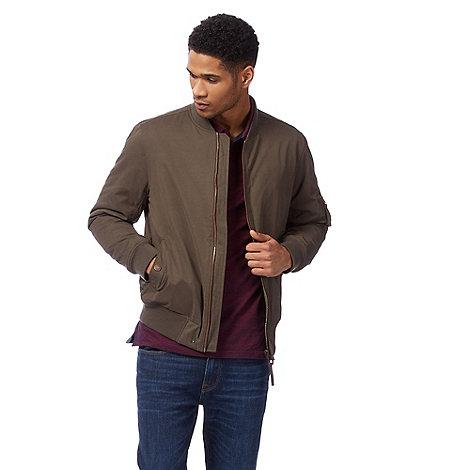 Racing Green - Big and tall khaki zip through bomber jacket