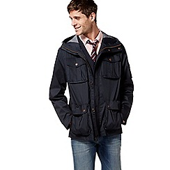 Racing Green - Navy hooded four pocket jacket