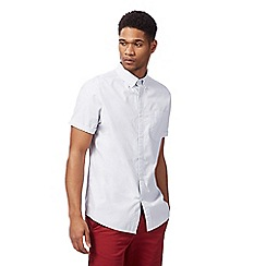 Racing Green - Light grey button down short sleeve shirt