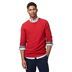 Racing Green - Big and tall red ribbed crew neck jumper