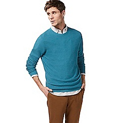 Racing Green - Turquoise ribbed crew neck jumper