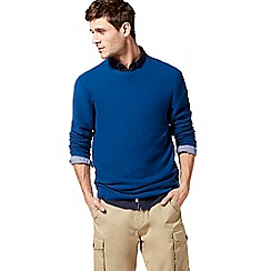Racing Green - Big and tall blue ribbed crew neck jumper