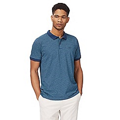 Racing Green - Big and tall navy and turquoise striped polo shirt