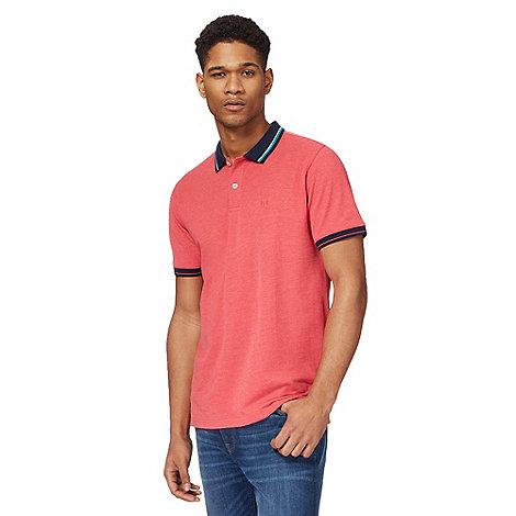 Racing Green - Big and tall dark peach contrast collar polo shirt