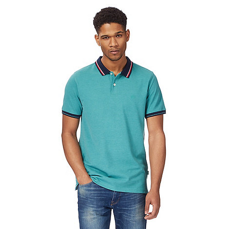 Racing Green - Big and tall green contrasting tipping polo shirt