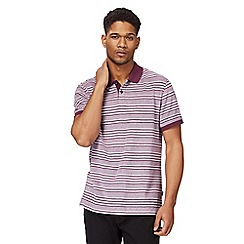 Racing Green - Big and tall plum striped polo shirt