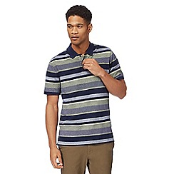 Racing Green - Big and tall navy and yellow striped polo shirt