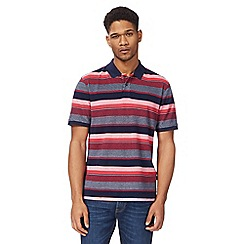 Racing Green - Dark peach textured stripe polo shirt