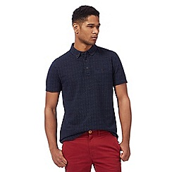 Racing Green - Navy jacquard dash polo shirt
