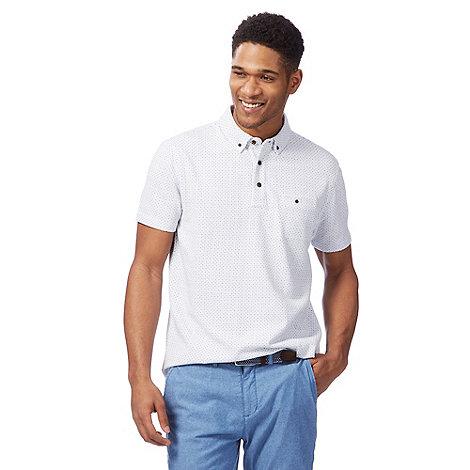 Racing Green - White jacquard dash polo shirt