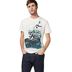 Racing Green - Big and tall cream motorcycle print t-shirt