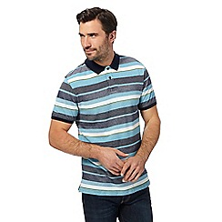 Racing Green - Big and tall turquoise textured striped polo shirt