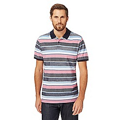 Racing Green - Big and tall pink textured striped polo shirt