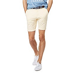 Racing Green - Pale yellow belted Oxford chino shorts