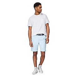 Racing Green - Light blue belted Oxford chino shorts