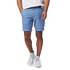 Racing Green - Blue denim belted Oxford chino shorts