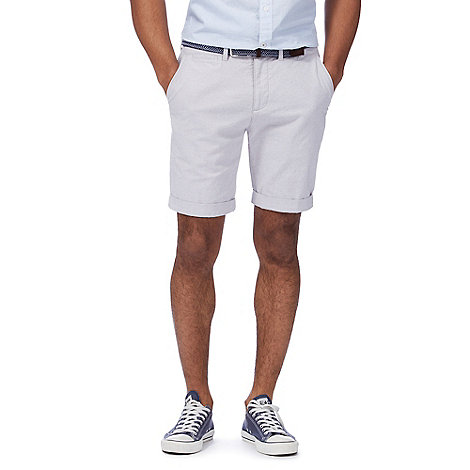 Racing Green - Grey belted Oxford chino shorts