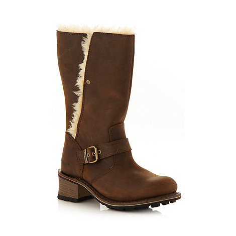 Caterpillar - Khaki brown faux fur lined leather boots