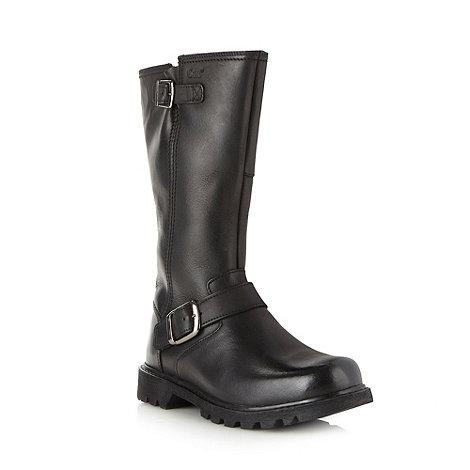 Caterpillar - Black leather buckle men+s tall biker boots