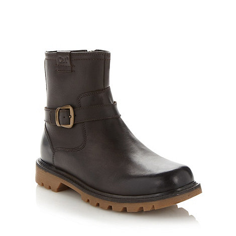 Caterpillar - Brown leather buckled ankle boots