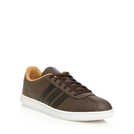 adidas - Brown +Neo+ leather court trainers