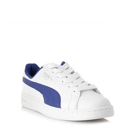 Puma - White leather blue stripe trainers