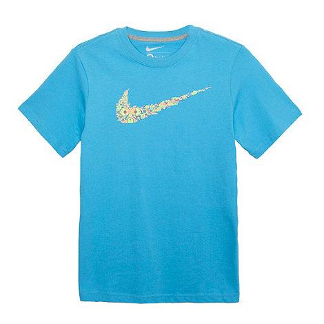 Nike - Boy+s blue robotic swoosh logo t-shirt