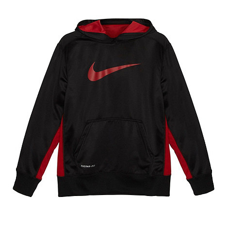 Nike - Boy+s black thermal logo hoodie