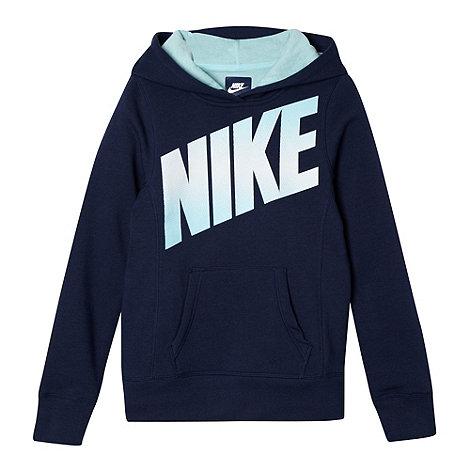Nike - Boy+s navy spotted logo print hoodie