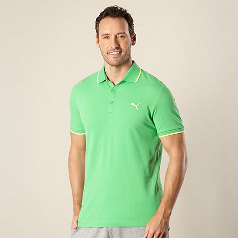 Puma - Bright green pique polo shirt